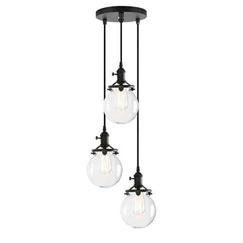 Pathson Island Chandelier Pendant Lighting Fixtures, 3 Lights Vintage Style Globe Clear Glass Shade Indoor Hanging Lights (Black)