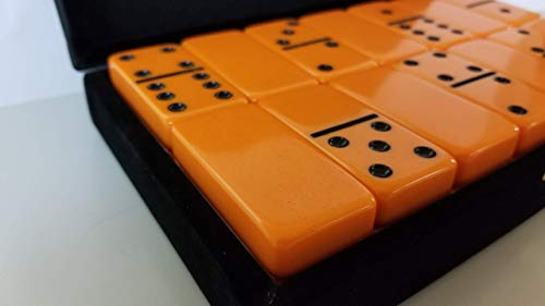 (Orange Double Six Dominoes Tournament Size in Velour Gift Box)