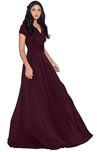 - KOH KOH Plus Size Womens Long Cap Short Sleeve V-Neck Flowy Cocktail Slimming Summer Sexy Casual Formal Sun Sundress Work Cute Gown Gowns Maxi Dress Dresses, Maroon Wine Red 3XL 22-24