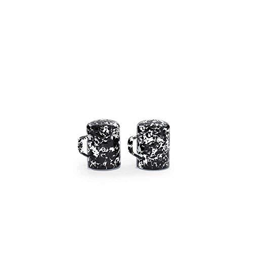 (Enamelware Salt and Pepper Shaker, 11 ounce, Black/White)
