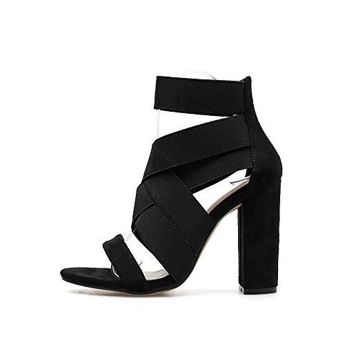Sandalias Zapatos Black Para Con Mujer Tacón Fengjingyuan Elástico Elástica Banda De Gamuza Moda BqdTn