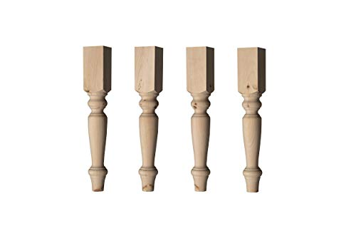 English Country Coffee Table Leg in Knotty Pine Wood (Set of 4)