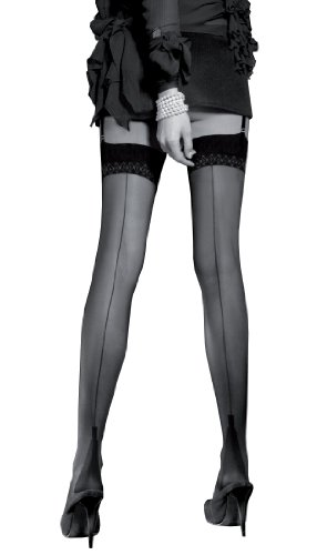 Trasparenze Full/Fully Fashioned Stockings with Cuban Heel, Back Seam, and Reinforced Heel and Toe (RHT) - Imported from Italy (Large/XL, (Reinforced Heel)