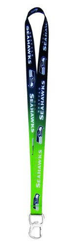 NFL Seattle Seahawks Ombre Lanyard, Green/Navy, One (Seattle Seahawks Nfl Lanyard)