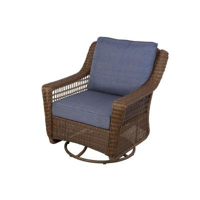 Hampton Bay Spring Haven Brown All-weather Wicker Patio Swivel Rocking Chair with Sky Blue Cushions
