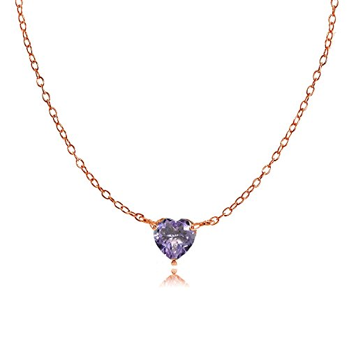 Alexandrite Heart - Ice Gems Rose Gold Flashed Sterling Silver Small Dainty Simulated Alexandrite Heart Choker Necklace