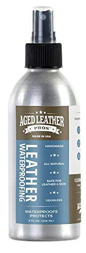Aged Leather Pros Leather Waterproofing (8 oz) for Suede, Nubuck, and Any Leather | Protects Purses, Shoes, Jackets, Couches, Auto Interior, Saddles and Much More (Best Leather Waterproofing Product)