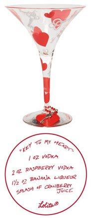 Lolita Martini Glass Key to My Heart by Santa Barbara Ceramic Design