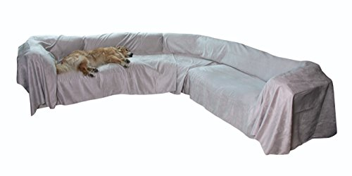 """Floppy Ears Design Extra Wide Simple Faux Suede Microfiber Sectional Couch Cover Protector (Sand, XXXL Sectional 105"""" W x 300"""" (Sand Microfiber Sofa)"""