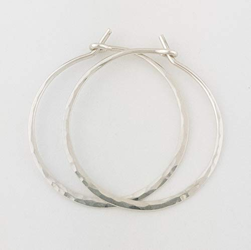"""1"""" Thick Hammered Sterling Silver Metal Hoop Earrings 18 Gauge (1mm wire)"""