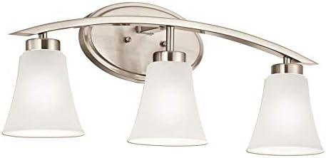 Portfolio 3 Light Lyndsay Brushed Nickel Bathroom Vanity Light Vanity Lighting Fixtures Amazon Com