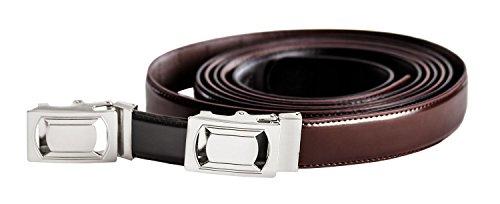 2 Belt Set - Men's Ratchet Belt, Set of 2 Black & Brown Dress Adjustable Belt With Automatic Buckle, Trim To Fit