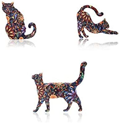 Xeminor Premium Graceful Lovely Unisex Cat Brooch Lapel Pin Enamel Badges Accessory