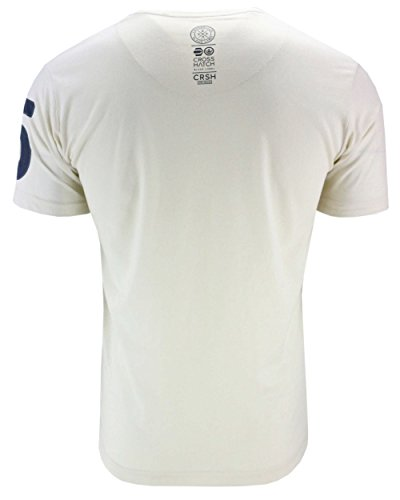 Mens girocollo T-shirt da Crosshatch 'Aichi' Soft Touch Peached Cotone Stampa (Vaporous Grigio) L