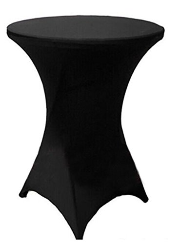 "Tina 24x43"" Cocktail Spandex Stretch Square Corners Tablecloth Black"