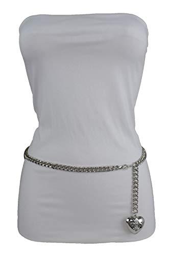 Women Hip Waist Silver Metal Chain Fashion Belt Love Heart Buckle Charm XS S M by RIX Fashion Luxury (Image #7)'