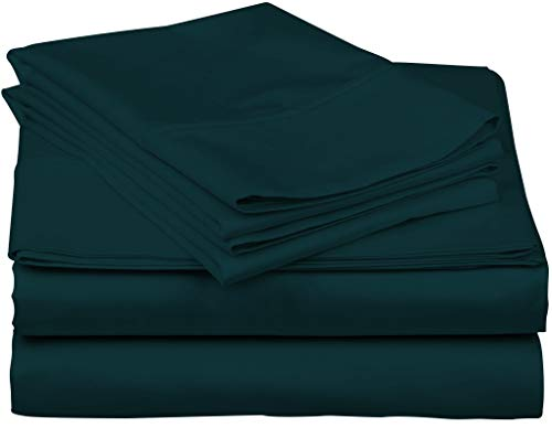 (True Luxury 1000-Thread-Count 100% Egyptian Cotton Bed Sheets, 4-Pc Queen Teal Sheet Set, Single Ply Long-Staple Yarns, Sateen Weave, Fits Mattress Upto 18'' Deep Pocket)