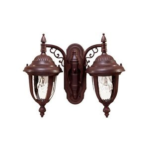 Alico Lighting 3508BW Acclaim Lighting Burled Walnut Finished Outdoor Sconce with Clear Seeded Glass Shades