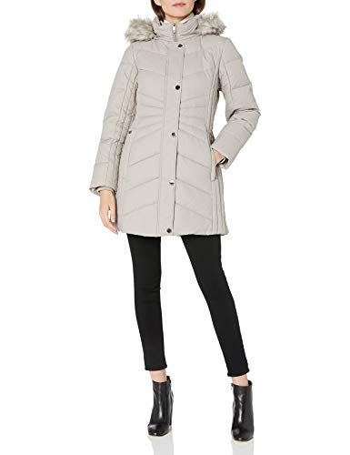 Anne Klein Women's Chevron Quilt Coat with Waist Detail with Faux Fur Hood, Pearl Grey, Large