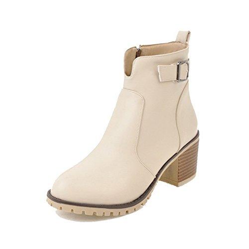 Women's Zipper Beige heels Material Boots Round Blend Kitten Agoolar Solid dqyRSpdZ
