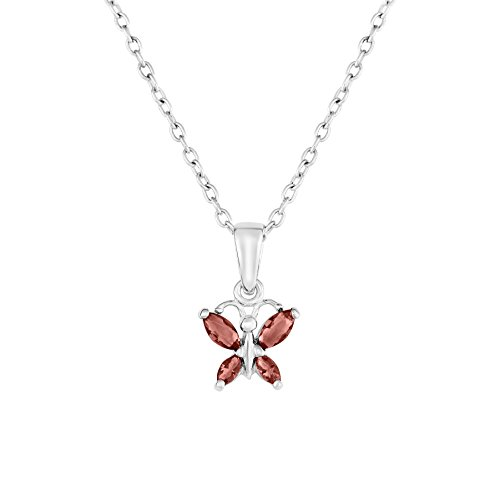 - Sterling Silver Butterfly Pendant Necklace with Simulated Birthstone CZ for Girls, 16'' (June)