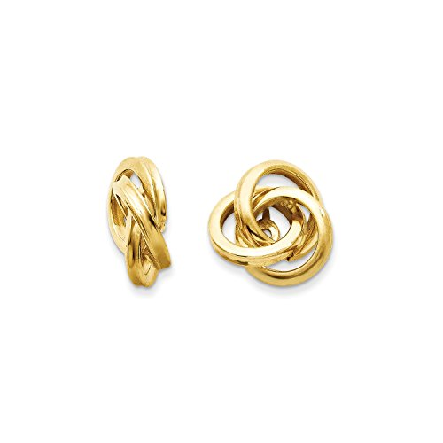 Roy Rose Jewelry 14K Yellow Gold Polished Love Knot Earring Jackets 12mm length by Roy Rose Jewelry