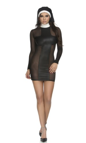 Forplay Women's Pray For Me Dress and Headpiece, Black, (Forplay Costume Ideas)