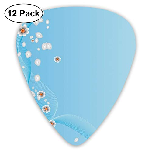 Guitar Picks - Abstract Art Colorful Designs,Floral Flowers Leaves Swirl Ivy One Frame With Digital Vintage Modern Artwork,Unique Guitar Gift,For Bass Electric & Acoustic Guitars-12 Pack (66 Ivy Collection)