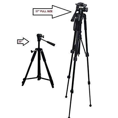 57-Inch 57 Multi-Angle Tripod For Canon, Nikon, Olympus, Panasonic, Sony - EOS Rebel T6, T6s, T6i, SL1, SL1, T5, T5i, T4i, T3, T3i, D3000, D3100, D3200, D3300, D5000, D5100, D5200, D5300, D5500