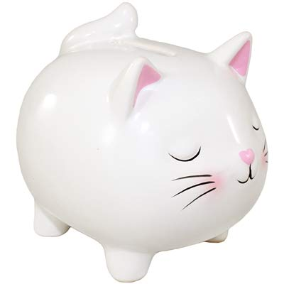 World Buyers Ceramic Kitty Cat Coin Bank, Keepsake, Savings, Piggy Bank 3.625 x 4.25 x 3.75 H (White)