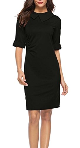 Dress Women's Black Dress Vintage Slim Button Business Lapel Sleeve Half Pencil Workwear Alion Sheath 4qwO7dw