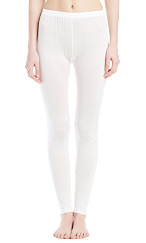 LilySilk Women's Silk Knitted Pants Relax Fit Pure Raw Mulberry Chinese Silk Stretch Lounge Yoga Gym Casual Bottoms White Medium ()