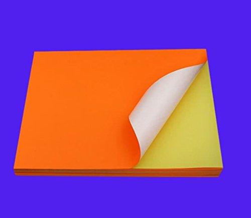 foglio adesivo plancia etichette fluorescenti carta 25 foglio di carta adesiva A4 FLUO ARANCIONE A4 210 x 297 mm stampanti laser e Inkjet