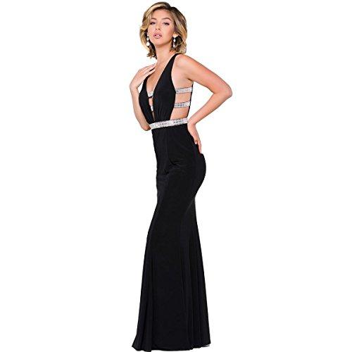 JVN by Jovani Womens Embellished Plunge Formal Dress Black 6