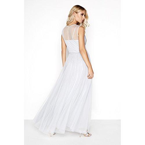 Mujer Malla Mistress Semitransparente De Largo Ornamentación Vestido Gris Con Little Para Z6wHqxPHd