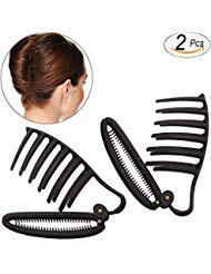 Hisight 2pcs Women Girls DIY Fast Styling Volume Insets Hair Clip Boost Comb French Twist Maker Fast Volume Twist Hair Boost Comb Hair Up Maker Tool Set (Black)