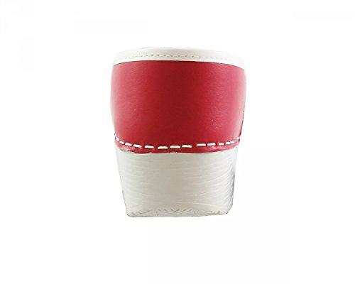 Original danClogs sabots de danemark rouge/blanc en cuir véritable