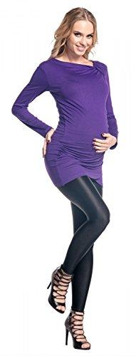 Happy Mama. De Las Mujeres Maternidad Largo Manga Tramo Jersey Cortinas Drape y túnica parte superior. 941p morado