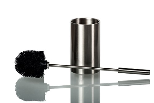 Deluxe Toilet Brush with Holder – Premium Quality Stainless Steel Toilet Brush – Elegant and Modern Design – Ergonomic and Practical Handle – Durable Brush Bristles – Hygienic Double-Wall (Stainless Steel Toilet Brush Holder)
