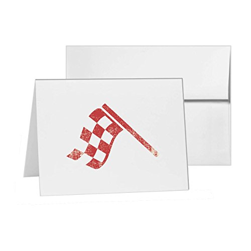 Checkered Flag Champion Competition Completion, Blank Card Invitation Pack, 15 cards at 4x6, Blank with White Envelopes Style 8211