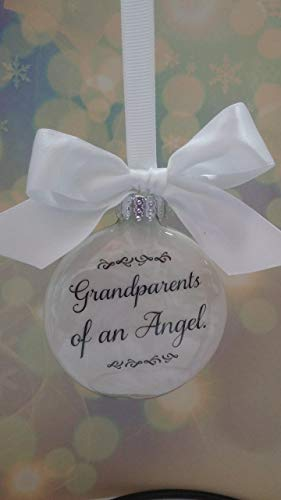 (Memorial Christmas Ornament - Grandparents of an Angel w/Feather Charm - In Memory of Baby Grandchild Loss Sympathy Gift)