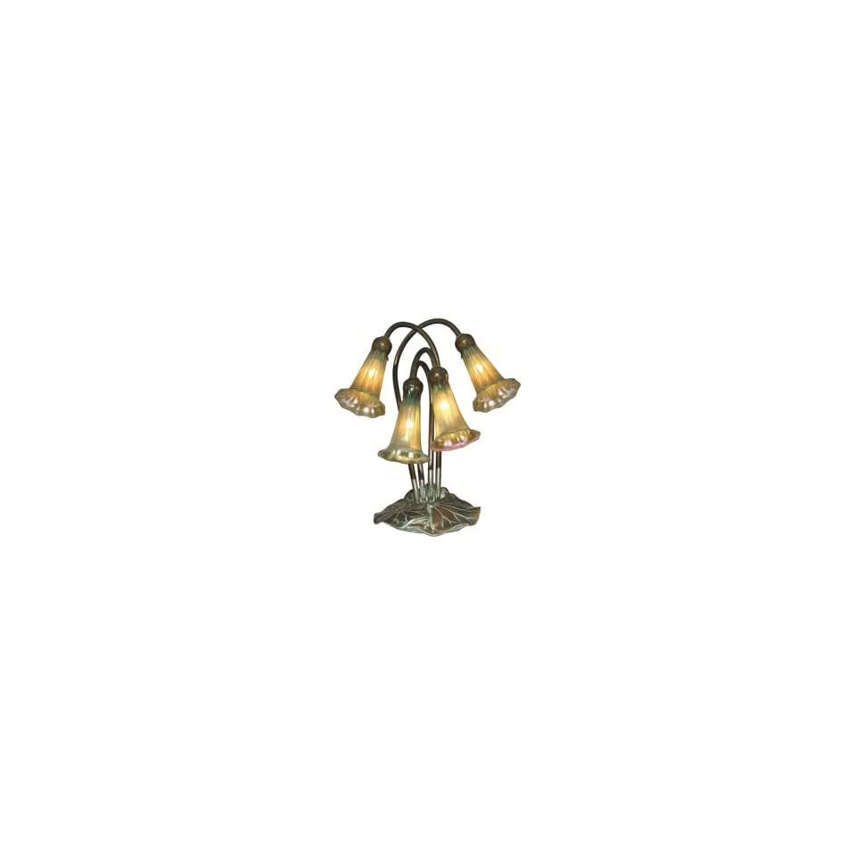 Dale Tiffany 1704/269 Lily Table Lamp, Antique Bronze/Verde and Glass Shade