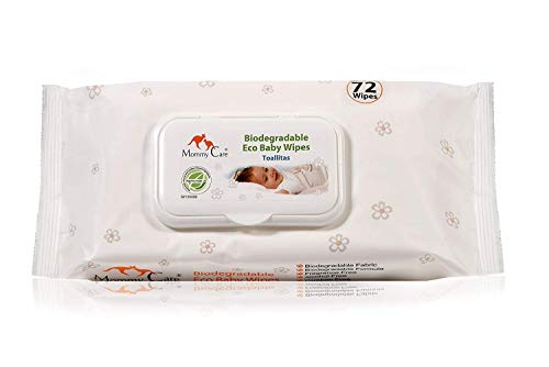 Mommy Care Organic Biodegradable Eco Friendly Baby Wipes – Sensitive Skin Natural Child Care – 1 Pack / 72 Count