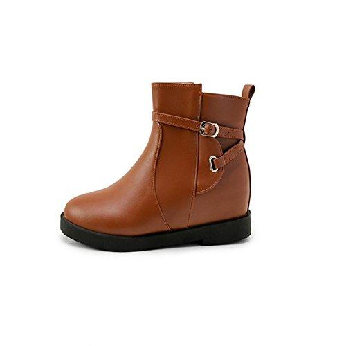XIAOGANG H HLas mujeres de las cuatro estaciones (Brown.) Blanco. (negro) la manera Napa, llano y las botas cortas de goma usar-resistiendo antideslizante, brown, 38
