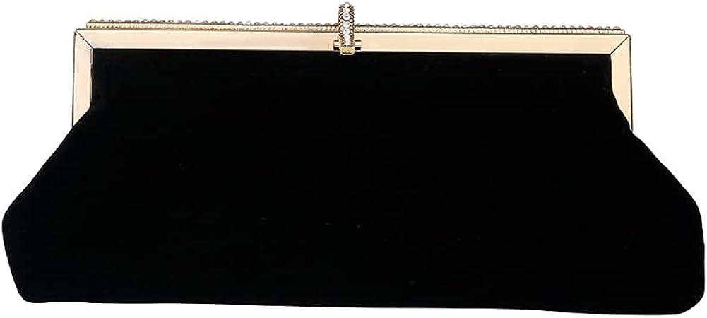 Silk Velvet Evening Bag Black Women Clutch Bag With Chain Shoulder Strap