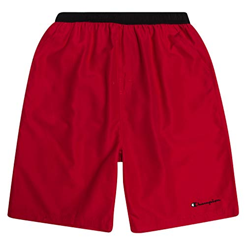 Champion Mens Big and Tall Swim Trunks with Classic Script Logo and Quick Dry Technology Red/Black