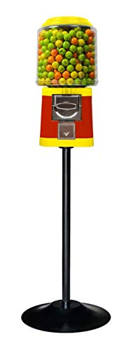 Single Gumball Vending Machine & Bouncy Ball Vending Machine & Capsule Vending Machine - Red Body & Yellow Trim - with Stand