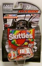 - 2016 NASCAR Authentics Kyle Busch #18 1/64 Skittles Diecast With Mini Replica Plastic Hood