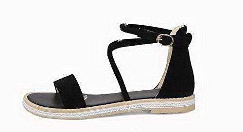 Boucle Solide Frosted Voguezone009 Femmes À Bout Ouvert Bas Talons Des Sandales, Ccalp014424 Noir