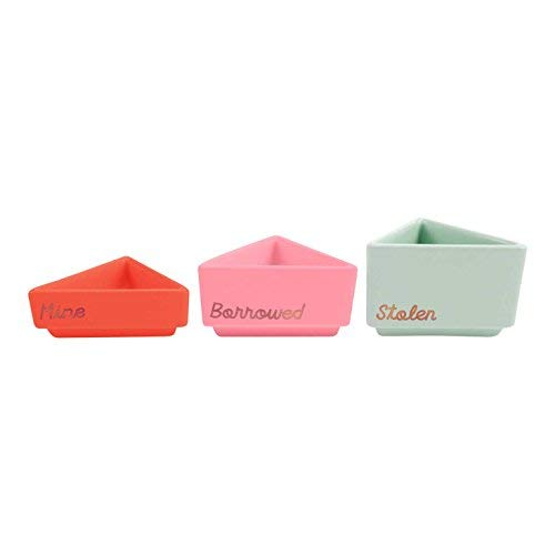 Plum and Punch Mine, Borrowed, Stolen Stackable Desk Containers, Set of 3 -